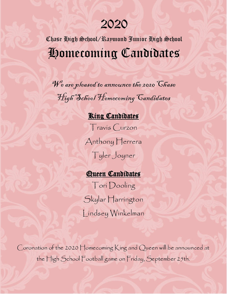 Fall Homecoming Candidates Announced